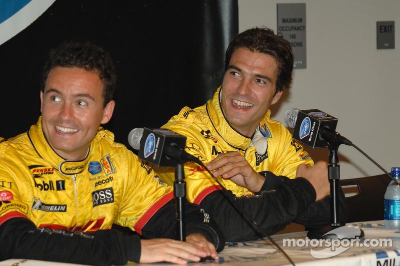 Conférence de presse d'après-course avec Sascha Maassen et Lucas Luhr, en seconde place finale et les vainqueurs LMP2
