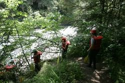 Participants head to the White Salmon river