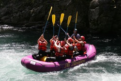 Panoz raft's crew celebrates after a challenging passage