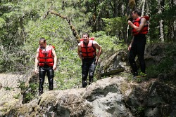 Darren Turner, Gunnar Jeannette and Tom Milner about to dive off a cliff