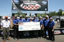Pit crew challenge: Alex Job Racing crew members celebrate their win