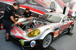 Multimatic Motorsports Team Panoz crew members at work