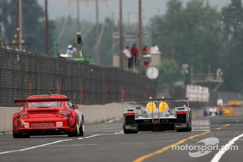 #2 Audi Sport North America Audi R10 TDI Power: Rinaldo Capello, Allan McNish, #45 Flying Lizard Motorsports Porsche 911 GT3 RSR: Johannes van Overbeek, Wolf Henzler