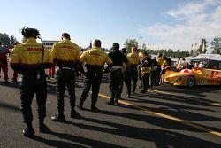 Penske Motorsports crew on the starting grid