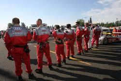 Audi Sport North America crew on the starting grid