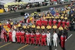 Crew aligned during National Anthem