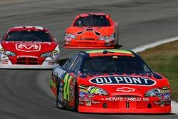 Jeff Gordon leads Kasey Kahne and Jeff Burton