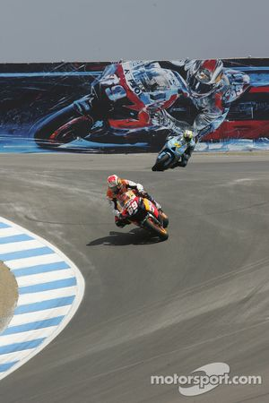 Nicky Hayden after taking the lead from Chris Vermeulen