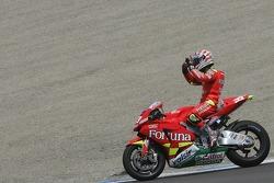 Marco Melandri fête son podium final