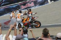 Nicky Hayden celebrates the win