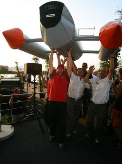 Presentation of the boats for the water rafting race to be held in Zandvoort: boat of Timo Scheider