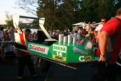 Presentation of the boats for the water rafting race to be held in Zandvoort: boat of Pierre Kaffer