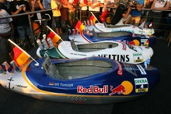 Presentation of the boats for the water rafting race to be held in Zandvoort: boat of Martin Tomczyk