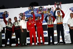LMGT2 podium: class winners Jaime Melo and Mika Salo, with second place Jorg Bergmeister and Patrick Long, and third place Bill Auberlen and Joey Hand