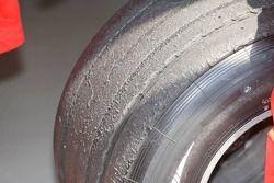 A worn Bridgestone tyre of Michael Schumacher