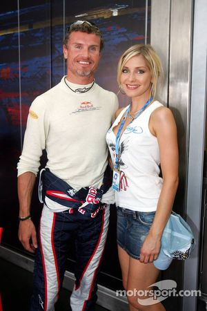 Sophye Gassmann of the Red Bull Formula Unas girls and David Coulthard