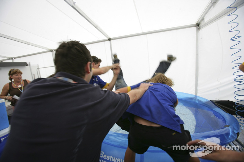 Jose Maria Lopez gets thrown into the paddling pool