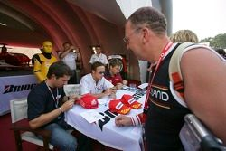 Timo Glock, Andreas Zuber, Michael Ammermuller sign autographs