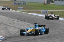 Giancarlo Fisichella, Jenson Button and Fernando Alonso