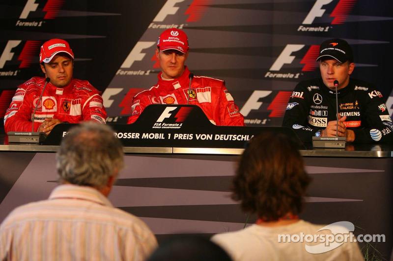 Conferencia de prensa: ganador de la carrera Michael Schumacher con Felipe Massa y Kimi Raikkonen