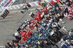 Cars are prepared on the grid