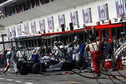 Mark Webber drives in the garage