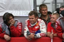 Tom Kristensen watches the end of a race he won't win