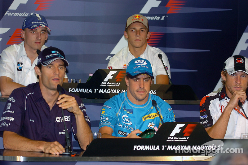 Conferencia de prensa FIA: Mark Webber, Fernando Alonso, Jenson Button, Robert Kubica y Christian Kl
