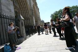 Visitors in front of Notre-Dame de Paris