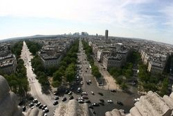 A view from atop the Arc de Triomphe: looking West towards La Défense