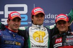 Podium: race winner Nelson A. Piquet with Timo Glock and Giorgio Pantano