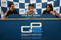 Press conference: race winner Nelson A. Piquet with Timo Glock and Giorgio Pantano