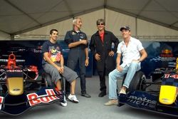 Running bulls rendez-vous in Budapest: Neel Jani, Peter Besenyei and Robert Doornbos