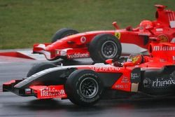 Tiago Monteiro and Michael Schumacher