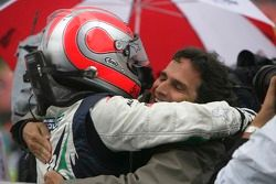 Nelson A. Piquet race winner celebrates with his father Nelson Piquet