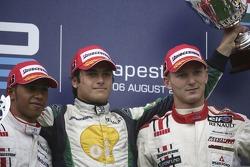 Le premier Nelson A. Piquet, Lewis Hamilton deuxième, Alexandre Premat troisième