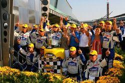 Race winner Jimmie Johnson celebrates