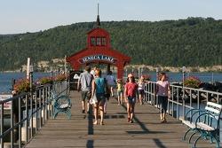 People enjoy the Watkins Glen marina on Seneca Lake