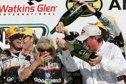 Victory lane: champagne for Kevin Harvick and Richard Childress