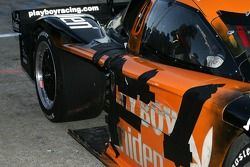 Damage on the #19 Playboy/ Uniden Racing Ford Crawford: Memo Gidley, Michael McDowell