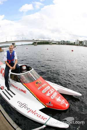 Mikko Hirvonen is taken for a high speed ride in a powerboat around one of Finland's famous lakes by
