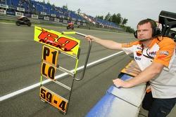 Pit board of Nicky Hayden