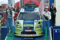 Podium: race winners Marcus Gronholm and Timo Rautiainen
