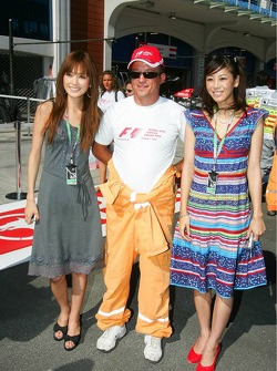 A track marshal with some girls
