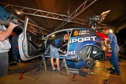 M-Sport mechanics work on the crashed car of Ott Tanak and Molder Raigo