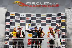 GTS Race podium: race winner Kris Wilson, second place Andrew Aquilante, third place Dean Martin