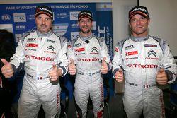 Qualifying top three, Jose Maria Lopez, Yvan Muller, Sébastien Loeb, Citroën Total WTCC