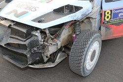 Daniel Sordo and Marc Marti, Hyundai i20 WRC, Hyundai Motorsport damaged