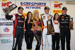 GT winners podium: race winner Kevin Estre, second place Ryan Dalziel, Nicky Catsburg