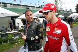 Kai Ebel, RTL TV Presenter with Sebastian Vettel, Scuderia Ferrari